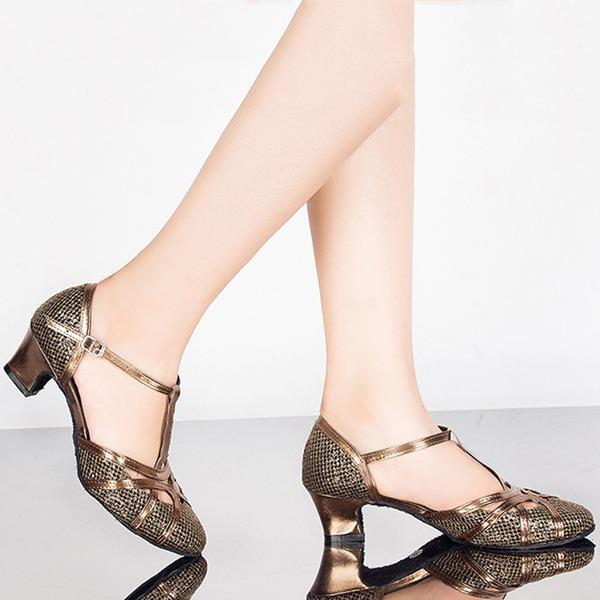 Donna Glitter scintillanti Sandalo Stiletto Sala da ballo con Con Listino a T Fibbia Cava-out Scarpe da ballo