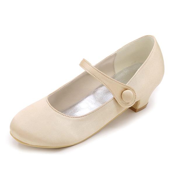 Bout fermé Satin Low Heel Escarpins Chaussures de fille de fleur
