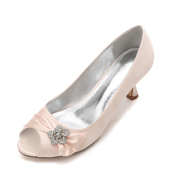 Women's Silk Like Satin Stiletto Heel Peep Toe Pumps With Buckle