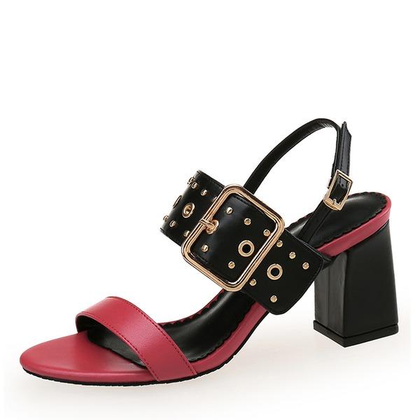 Kvinnor PU Tjockt Häl Sandaler Peep Toe med Nita Spänne skor