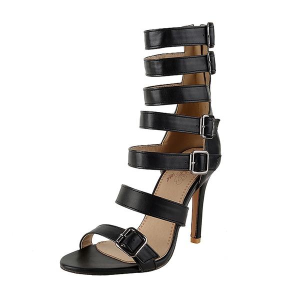 Vrouwen Kunstleer PU Stiletto Heel Sandalen Pumps met Gesp Hol-out schoenen