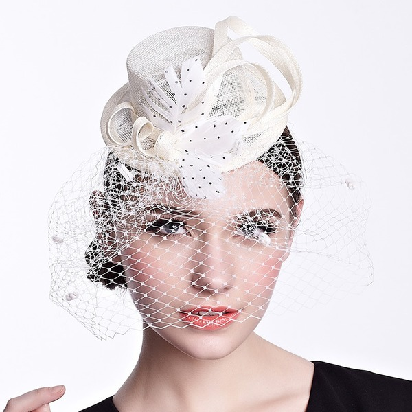 Ladies' Beautiful/Elegant Linen With Feather/Tulle Fascinators