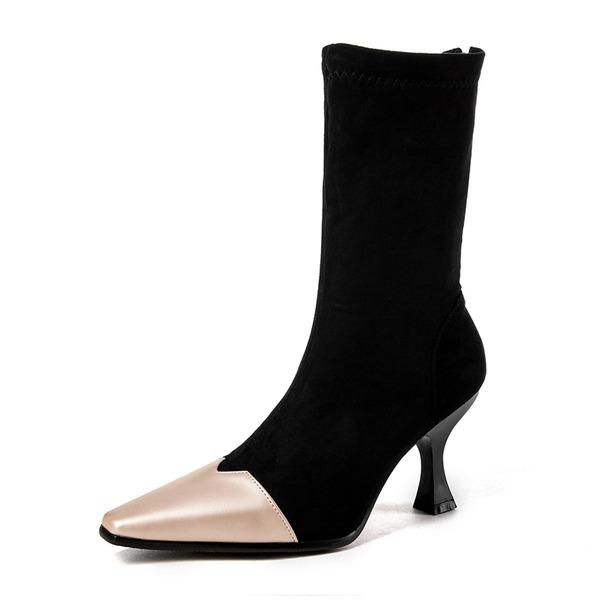 Frauen Veloursleder Stöckel Absatz Stiefel Stiefel-Wadenlang mit Zweiteiliger Stoff Schuhe