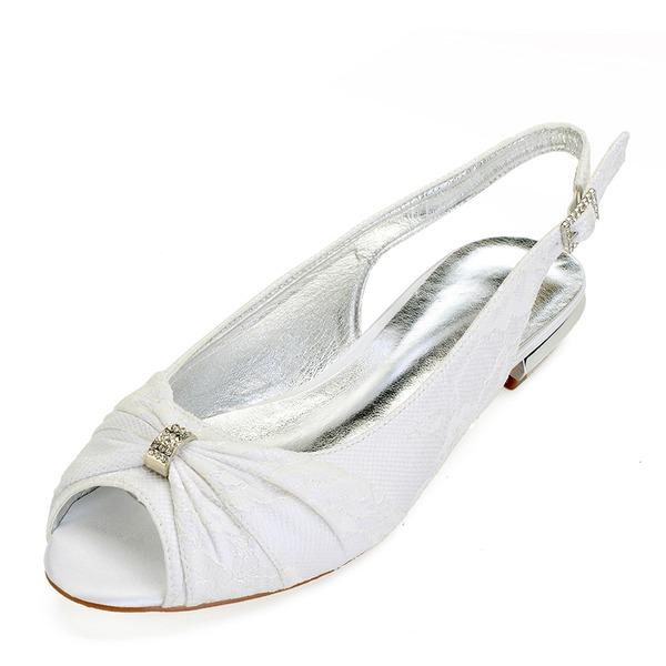 Femmes Similicuir Talon plat Chaussures plates Escarpins avec Couture dentelle Cristal