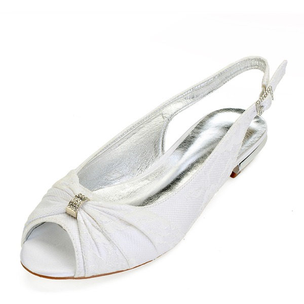 Vrouwen Kunstleer Flat Heel Flats Slingbacks met Stitching Lace Kristal