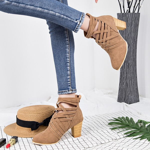 Kvinner Semsket Stor Hæl Pumps Støvler Ankelstøvler med Glidelås sko