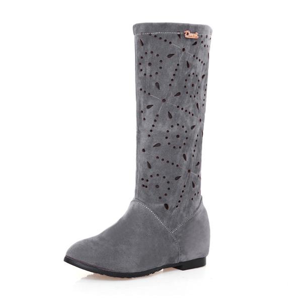 Naisten Mokkanahka Matala heel Suljettu toe Kengät Knee saappaat Mid-calf saappaat jossa Muut kengät