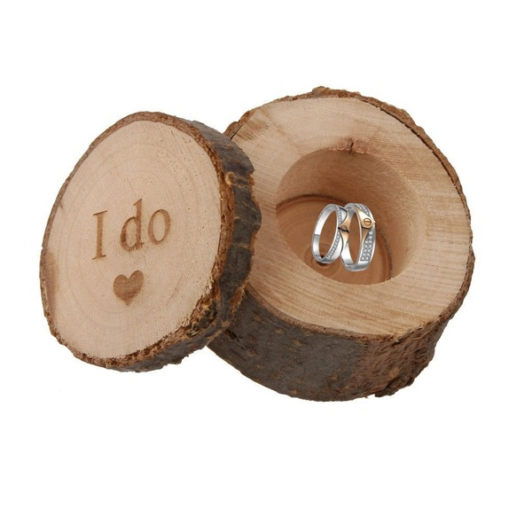 """I do""/Shabby Rustic Ring Box in Wood (Set of 3)"