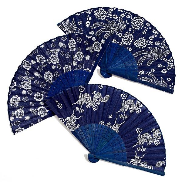 Blomster motiv Bambus/Silke Hånd fan (Sæt af 4)