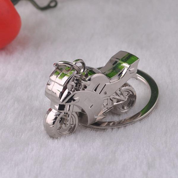 Klassieke Koel Motorfiets Ontwerp Silver Plated Staal Sleutelhangers