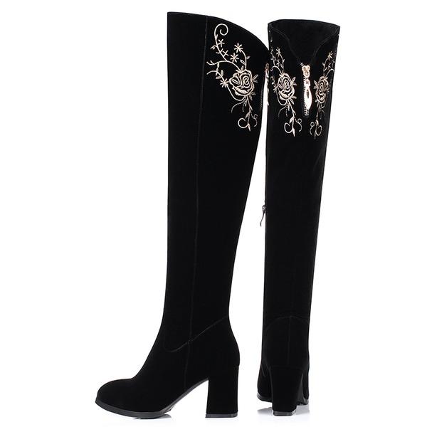 Femmes Suède Talon bottier Escarpins Cuissardes avec Fleur en satin Zip chaussures