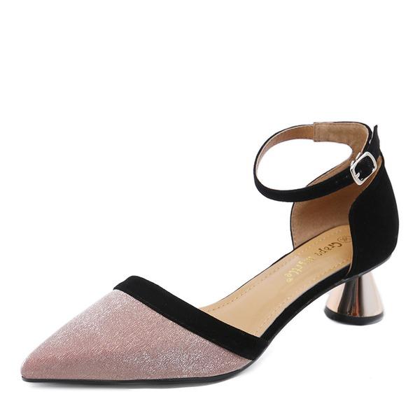 Frauen PU Stöckel Absatz Sandalen Absatzschuhe Geschlossene Zehe mit Schnalle Schuhe