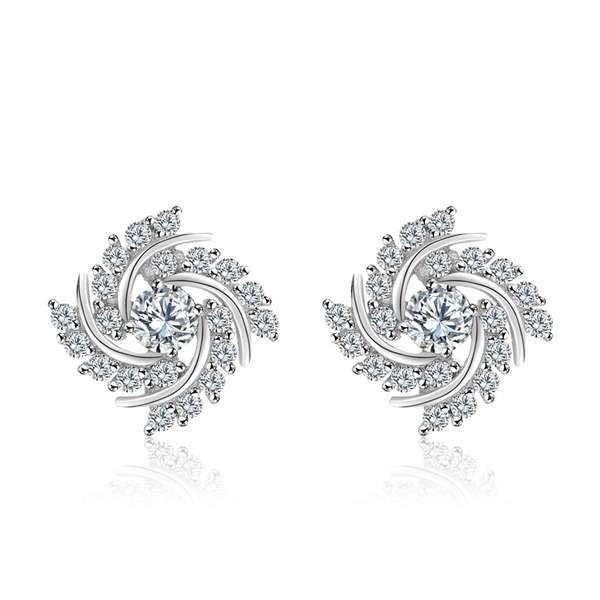Ladies' Beautiful 925 Sterling Silver With Cubic Cubic Zirconia Earrings For Bridesmaid/For Friends