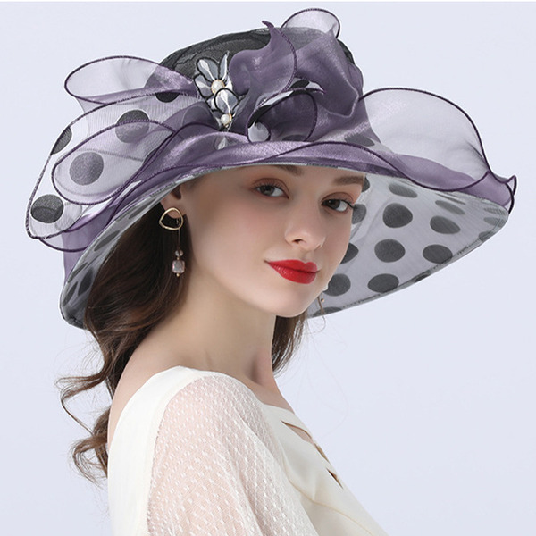 Ladies ' Hotteste/Romantisk Organzastof med Imiteret Pearl Strand / Sun Hatte/Tea Party Hats