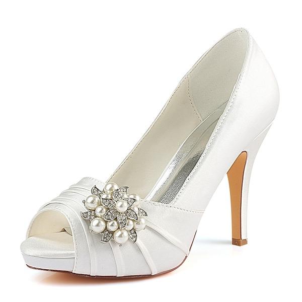 Kadın İpeksi Saten İnce Topuk Peep Toe Pompalar Ile Büzgü Kristal Inci