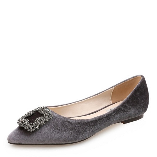 Kvinner Semsket Flat Hæl Flate sko Lukket Tå med Rhinestone Spenne sko