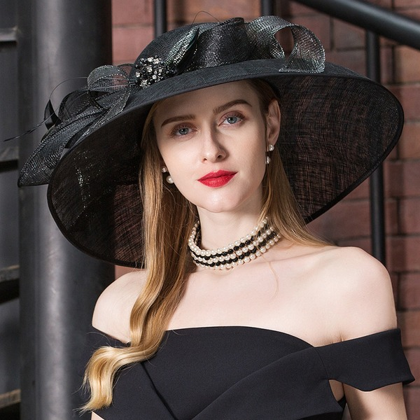 Ladies' Glamourous Cambric With Feather/Rhinestone Floppy Hat/Kentucky Derby Hats