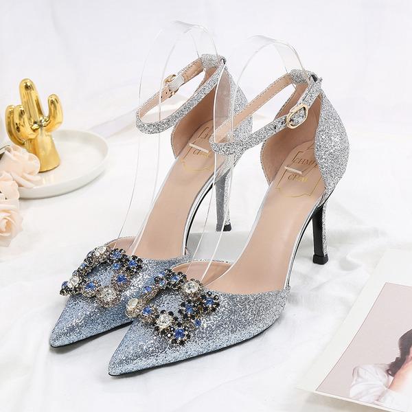 Kvinner Glitrende Glitter Stiletto Hæl Lukket Tå med Spenne Crystal