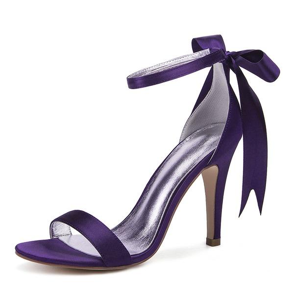 Kadın İpeksi Saten İnce Topuk Peep Toe Pompalar Sandalet Ile İlmek Yapay elmas Kurdele Bağcıklı