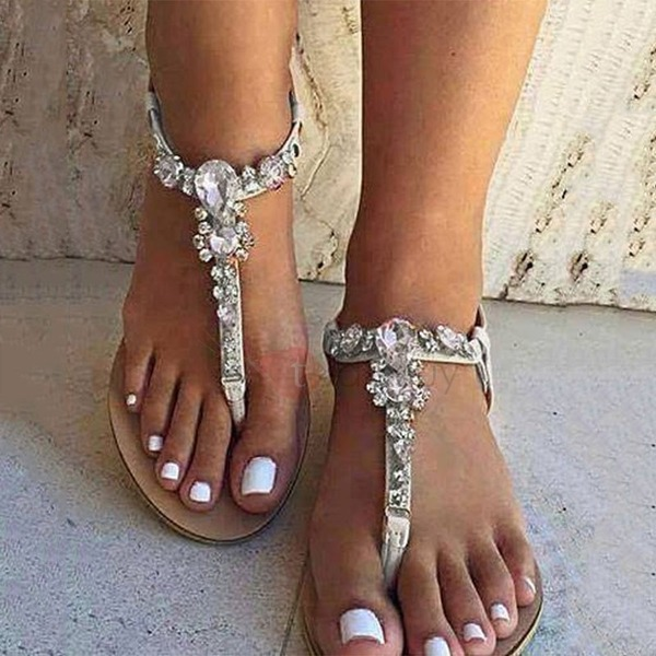 Women's PU Flat Heel Flats Peep Toe Slingbacks With Rhinestone shoes