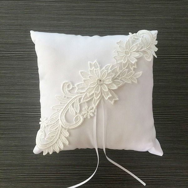 Square Ring Pillow in Satin/Lace With Ribbons/Flowers