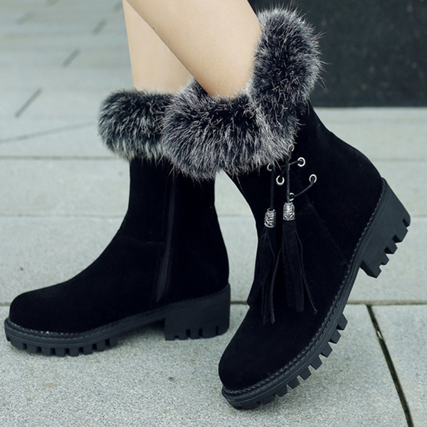 Women's Suede Chunky Heel Snow Boots With Lace-up Tassel shoes