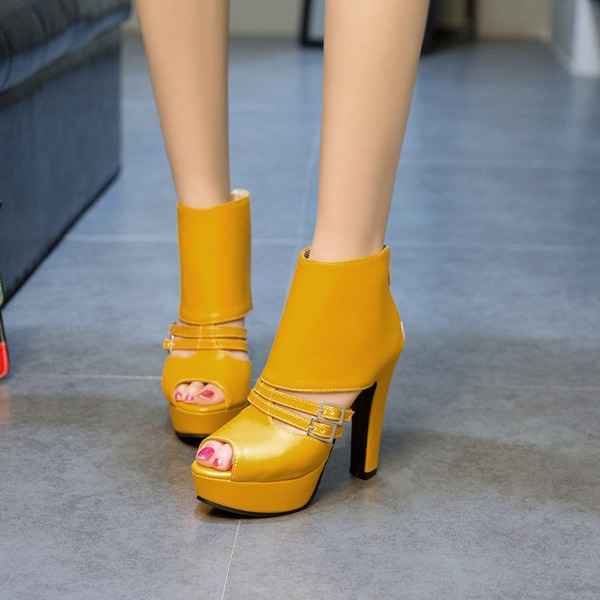 Women's PVC Chunky Heel Pumps Platform With Buckle shoes