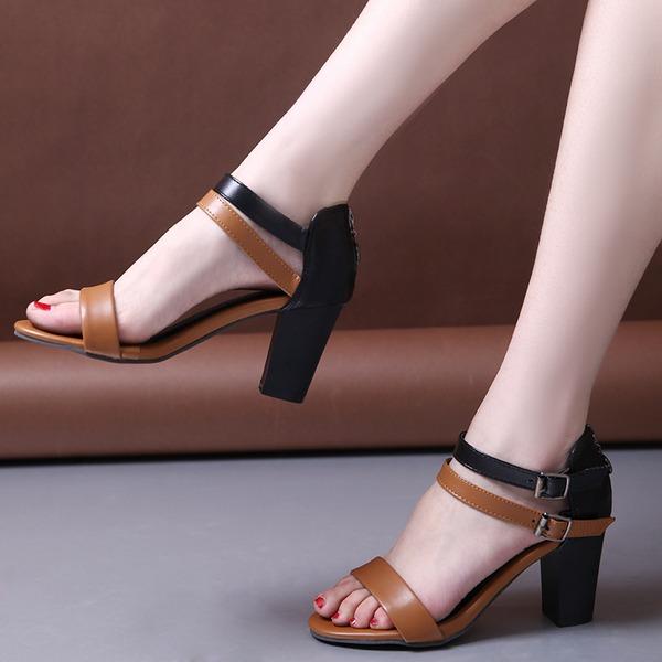 Mulheres Couro Salto robusto Sandálias Bombas Peep toe Mary Jane com Fivela sapatos