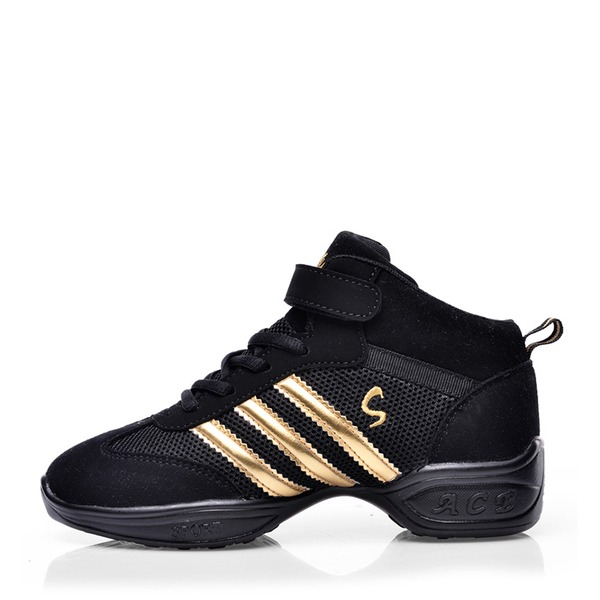 Women's Suede Mesh Sneakers Sneakers With Lace-up Dance Shoes