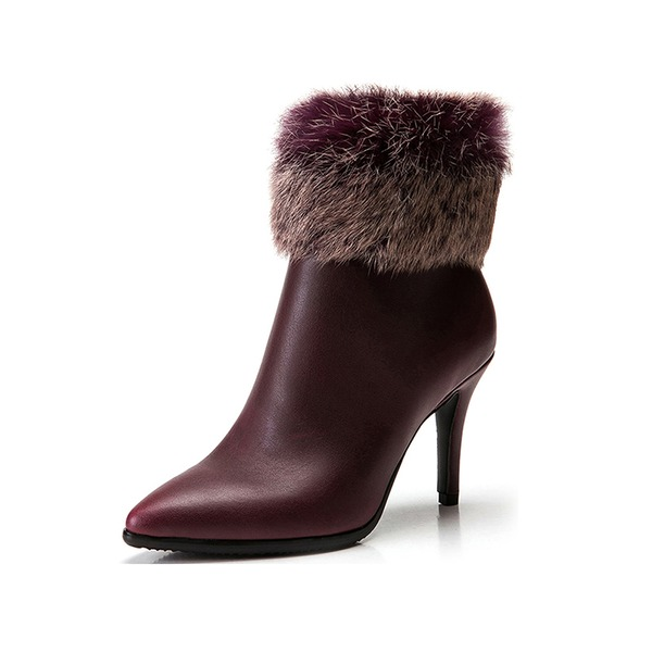 Mulheres Couro Salto agulha Plataforma Bota no tornozelo com Pele sapatos
