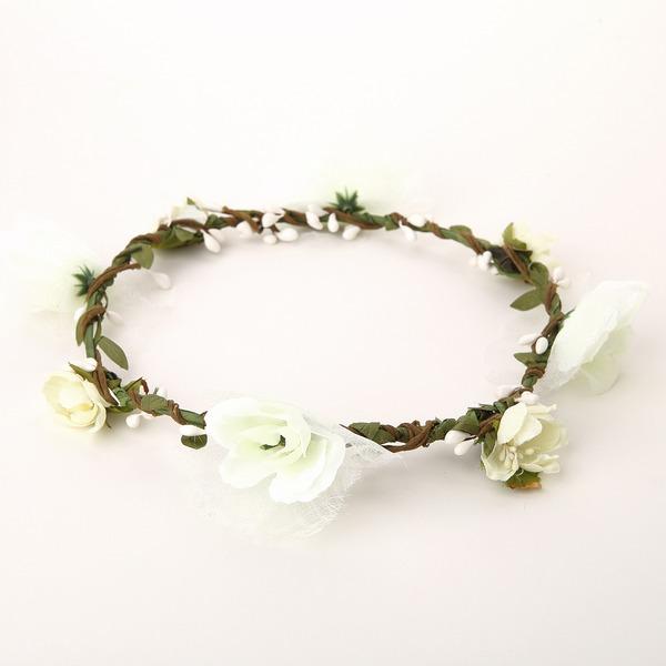Schön Baumwolle/Rattan Stroh/Band Blumen Mädchen Kopfstück/Blumen und Federn