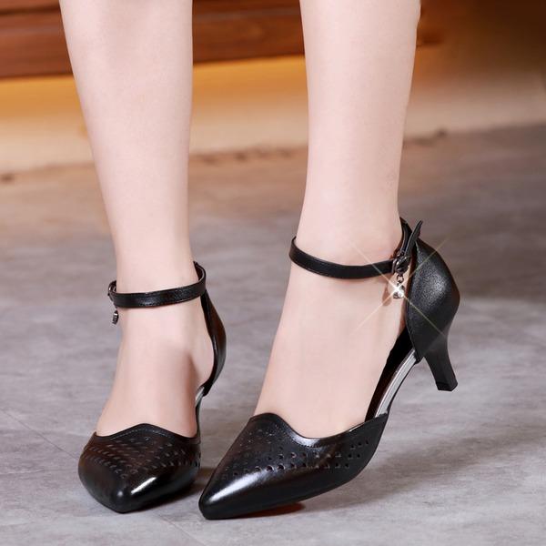 Mulheres Couro verdadeiro Salão de Baile com Oca-out Sapatos de dança