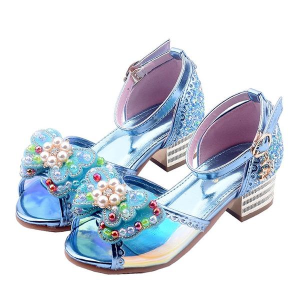 девичий Открытый мыс дерматин низкий каблук Сандалии Обувь для девочек с бантом пряжка