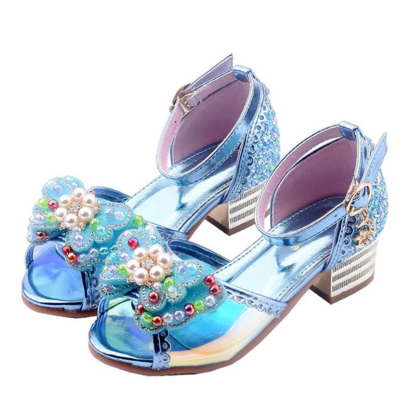 Flicka Peep Toe konstläder låg klack Sandaler Flower Girl Shoes med Bowknot Spänne