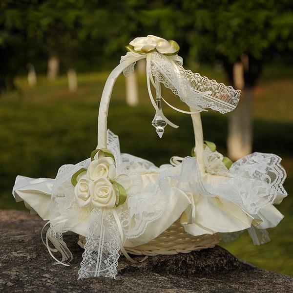 Panier à fleur à Tissu avec Dentelle/Une fleur