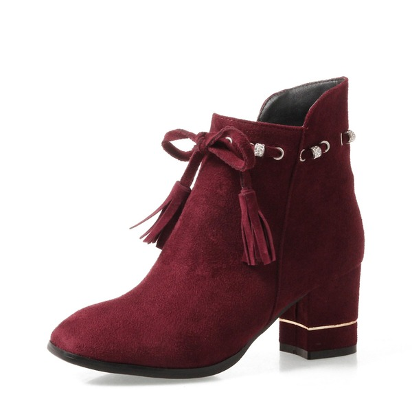Women's Suede Chunky Heel Pumps Boots Ankle Boots With Tassel shoes