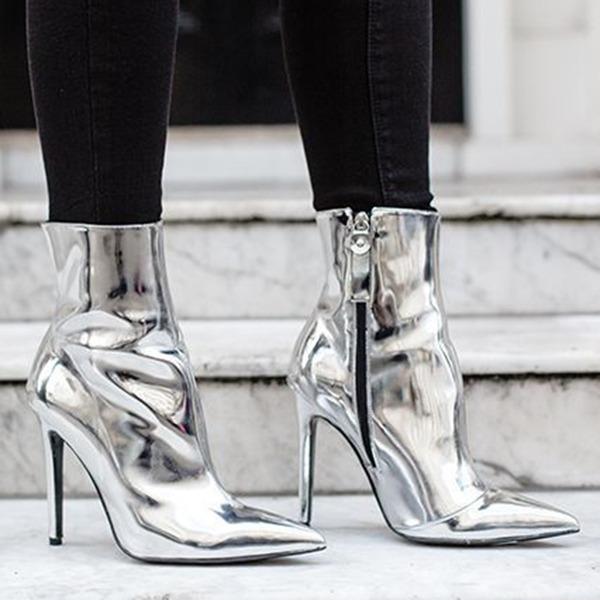 Donna Pelle verniciata Tacco a rocchetto Stiletto Punta chiusa Stivali Stivali alla caviglia con Cerniera scarpe