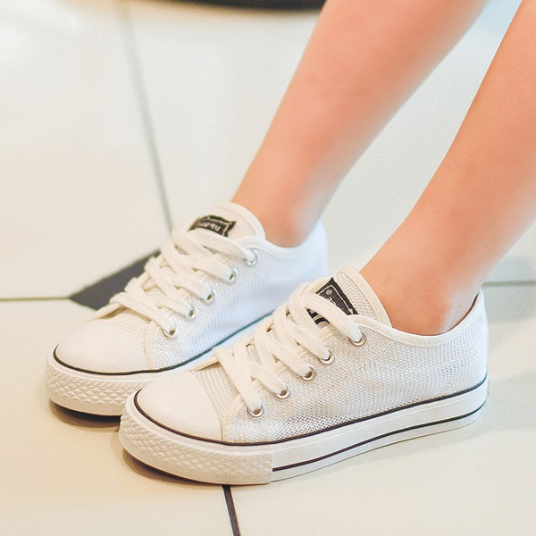 Unisexe en tissu talon plat bout rond Chaussures plates avec Dentelle Ouvertes