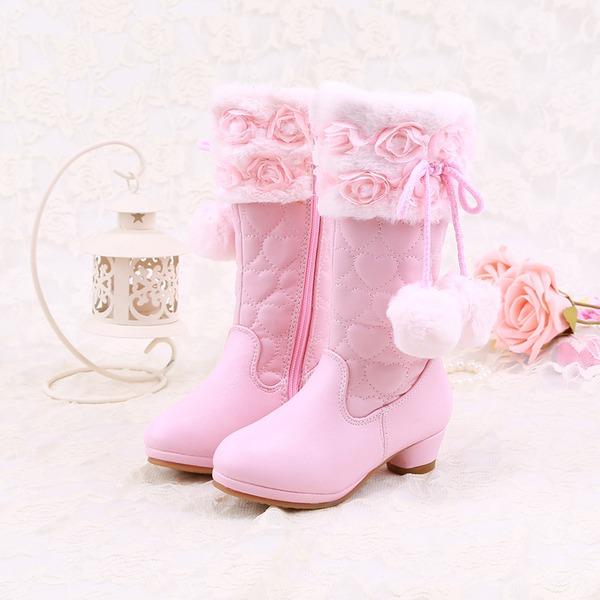 Girl's Closed Toe Microfiber Leather Low Heel Boots Flower Girl Shoes With pompom