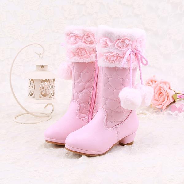 Fille de Bout fermé Cuir en microfibre Low Heel Bottes Chaussures de fille de fleur avec pom pom