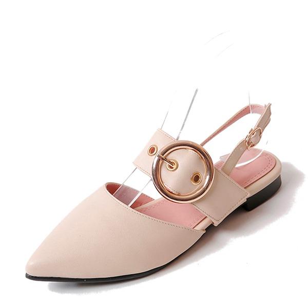 Vrouwen PVC Flat Heel Sandalen Flats Closed Toe Slingbacks met Gesp schoenen