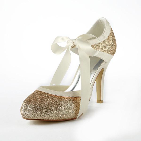 Women's Satin Sparkling Glitter Cone Heel Closed Toe Platform Pumps