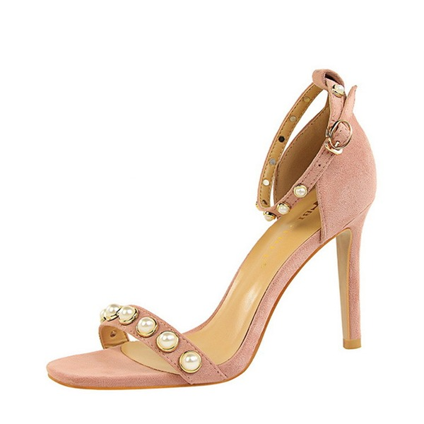 Women's Suede Stiletto Heel Peep Toe Pumps Sandals With Buckle Imitation Pearl