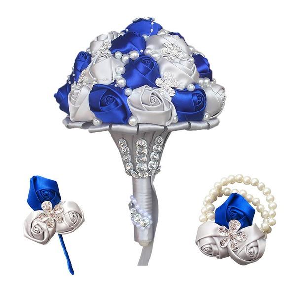 Round Satin/Imitation Pearl Flower Sets (set of 3) - Wrist Corsage/Boutonniere/Bridal Bouquets