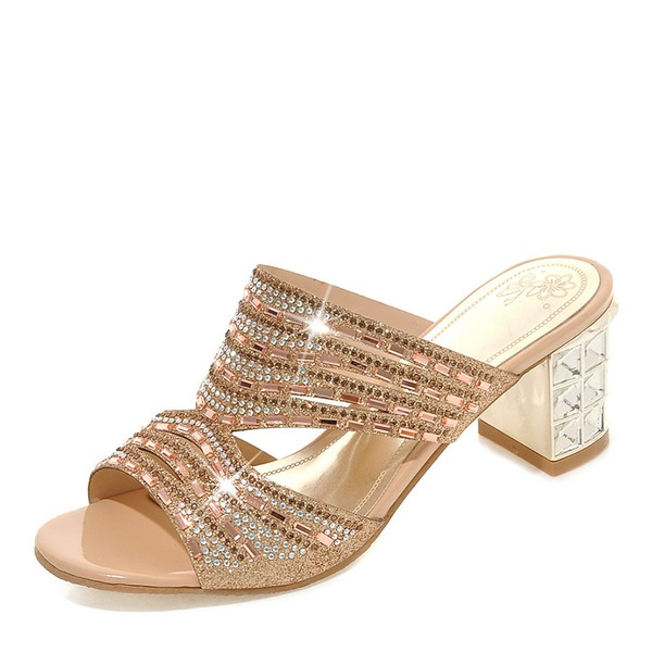 Women's Sparkling Glitter Chunky Heel Sandals Pumps Peep Toe Slingbacks Slippers With Rhinestone shoes