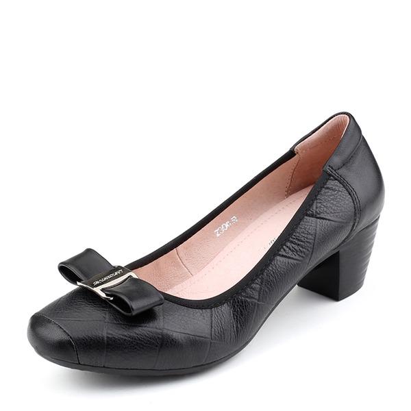 Frauen Echtleder Stämmiger Absatz Absatzschuhe Geschlossene Zehe mit Bowknot Schuhe