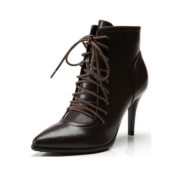 Mulheres Couro Salto agulha Plataforma Bota no tornozelo Martin botas com Alça trançada sapatos