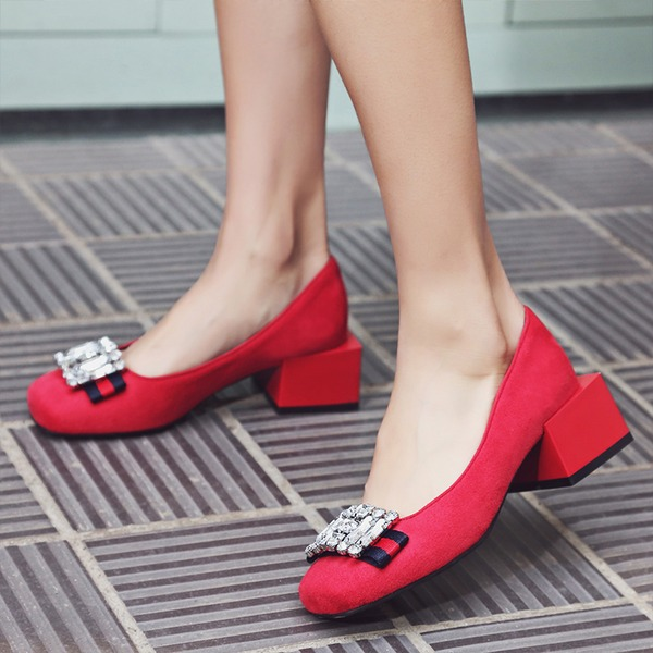 Femmes Suède Talon bottier Chaussures plates Bout fermé avec Strass chaussures