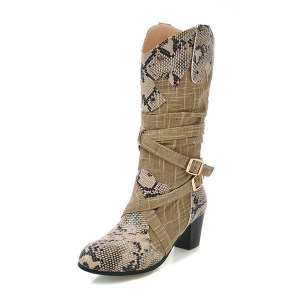 Kvinner Stoff Stor Hæl Støvler Mid Leggen Støvler med Spenne sko