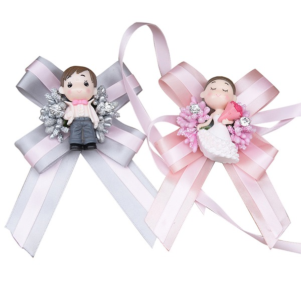 Satin/Fabric/Rhinestone Wrist Corsage/Boutonniere (set of 2) -
